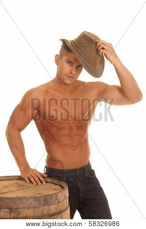 Man Strong No Shirt Barrel Putting On Hat