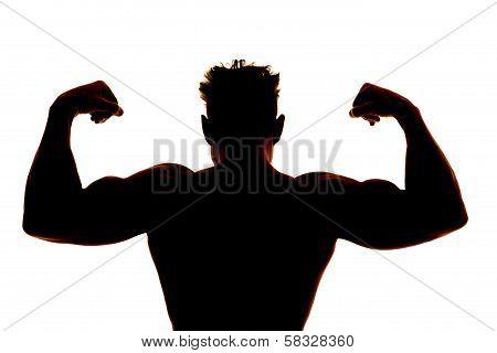 Silhouette Wet Man Muscles Back Flex