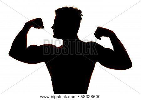 Silhouette Wet Man Muscles Flex Look Side
