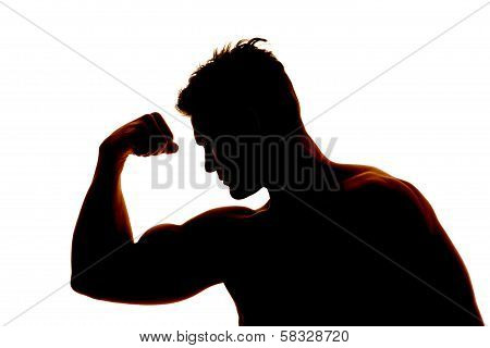 Silhouette Wet Man Muscles Flex One Arm