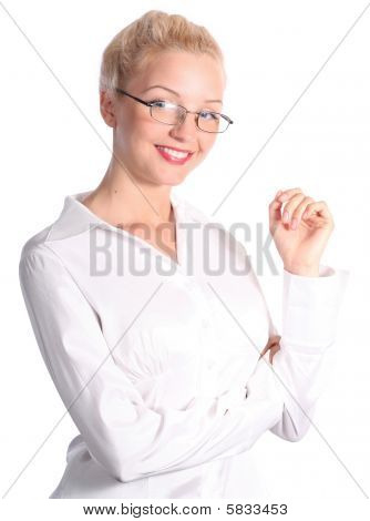 photo of young blonde beautiful business woman