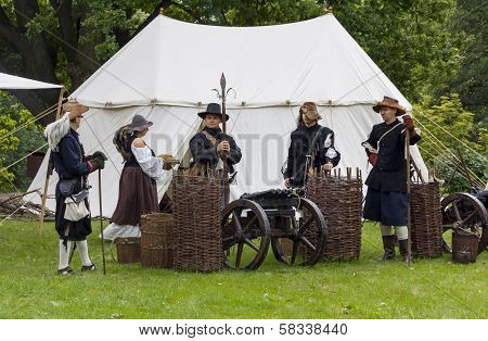 History Fans Dressed As 17Th Century Mercenary Soldiers