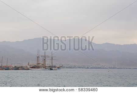 Eilat, Israel, 26 January 2014 - View on Eilat gulf, Israel