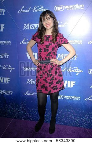 Zooey Deschanel at the Variety and Women In Film Pre-Emmy Event, Scarpetta, Beverly Hills, CA 09-21-12