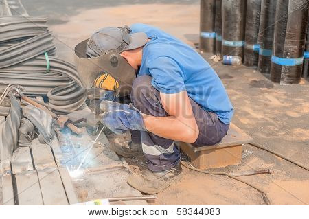 industrial worker welder during working process