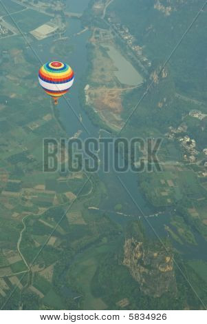 Aerial View Of A Hot Air Balloon Flying