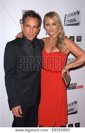 Ben Stiller, Christine Taylor at the 26th American Cinematheque Award Honoring Ben Stiller, Beverly Hilton Hotel, Beverly Hills, CA 11-15-12