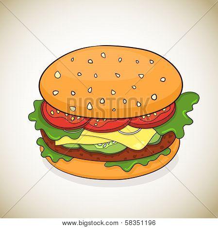 Vector cartoon hamburger icon