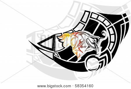 Fier bull in tribal style on white background