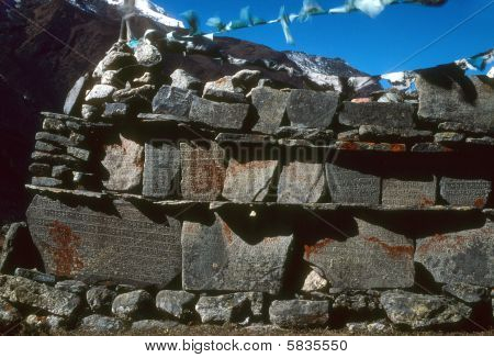 Mani Walls Built Along High Himalayan Trail