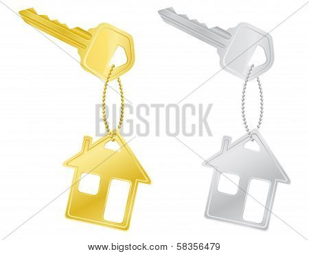 House Keys Door Lock Vector Illustration