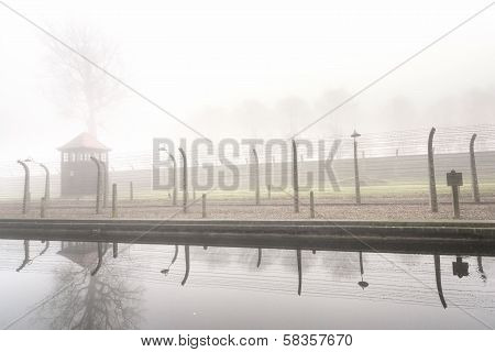 Electric fence in former Nazi camp