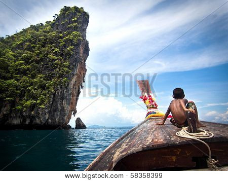 Boy on Longtail Boat in Ko Phi Phi, Thailand