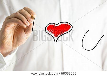 Man Writing I Love You On A Virtual Screen