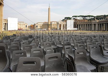 Square In Front Of The Basilica Of St. Peter In Vatican City With The Empty Chairs, Italy