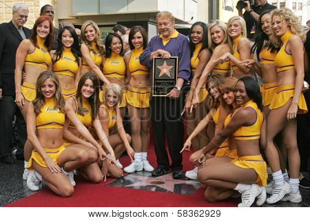 Jerry Buss and the Laker Girls at the Ceremony Honoring Los Angeles Lakers Owner Jerry Buss with the 2,323rd star on the Hollywood Walk of Fame. Hollywood Boulevard, Hollywood, CA. 10-30-06