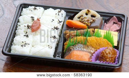 Contemporary Japanese ready-made lunchbox (bento box)