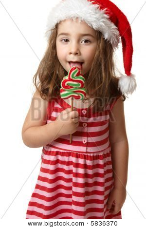 Santa Girl Licking Christmas Tree Lollipop Candy