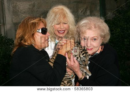 Martine Collette with Loretta Swit and Betty White at 2006 Safari Brunch Fundraiser For The Wildlife Waystation. Playboy Mansion, Los Angeles, CA. 10-14-06