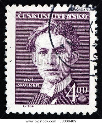 Postage Stamp Czechoslovakia 1949 Jiri Wolker, Poet