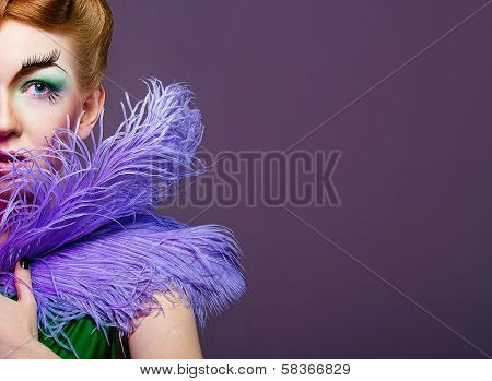 Portrait Of Girl With Unusual Make-up