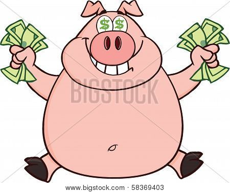Smiling Rich Pig With Dollar Eyes And Cash Jumping