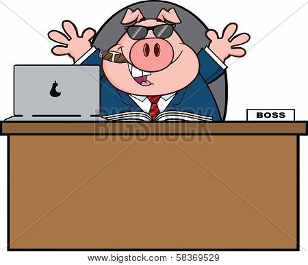 Businessman Pig Cartoon With Sunglasses,Cigar Behind Desk