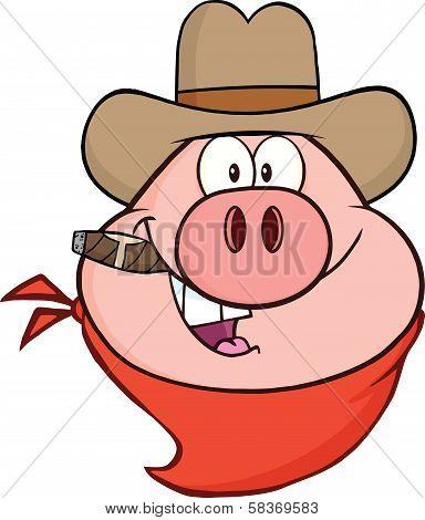 Cowboy Pig Head Cartoon Character