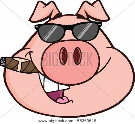 Businessman Pig Head With Sunglasses And Cigar