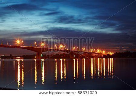 Night bridge over the Volga river in Yaroslavl.