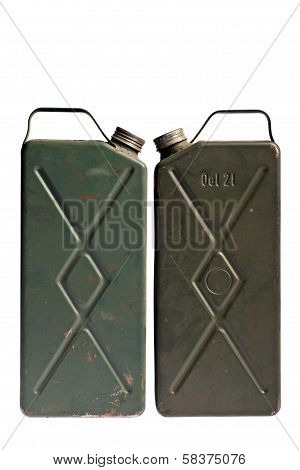 Old And Rusty Gasoline Canisters