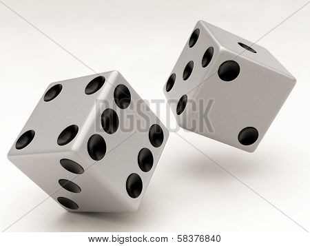 Two White Dices Falling