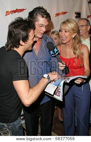 Jeremy Jackson with David Hasselhoff and Linda Thompson at the DVD Release of