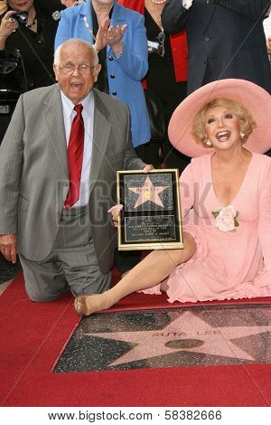 Johnny Grant and Ruta Lee at the award ceremony honoring Ruta Lee with a star on the Hollywood Walk of Fame. Hollywood Blvd., Hollywood, CA. 10-10-06