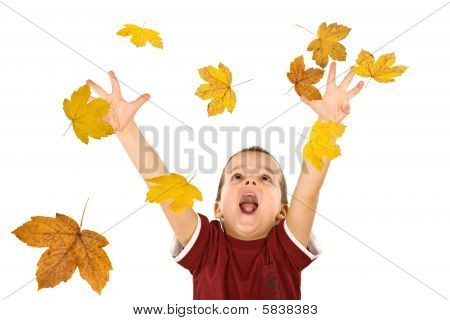 Happy Boy Reaching For The Falling Autumn Leaves