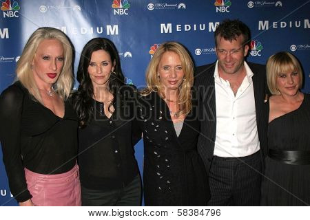 Alexis Arquette, Courteney Cox, Rosanna Arquette, Thomas Jane and Patricia Arquette at the NBC fall party for the hit drama