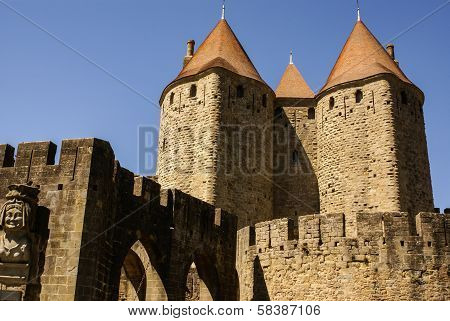 Medieval fortress and walled city of Carcassonne in the Languedoc-Roussillo