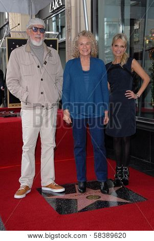 Lou Adler, Carole King, Kristin Chenoweth at the Carole King Hollywood Walk Of Fame Ceremony, Hollywood, CA 12-03-12