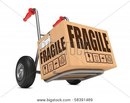 Fragile - Cardboard Box on Hand Truck.