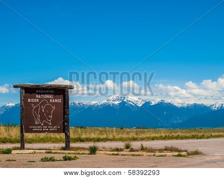 Mountain View And Sign From The National Bison Refuge In Montana Usa