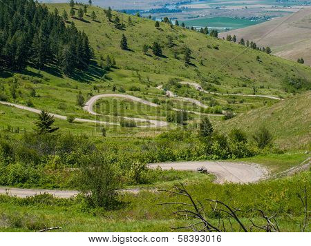 Winding Road At The National Bison Range In Montana, Usa