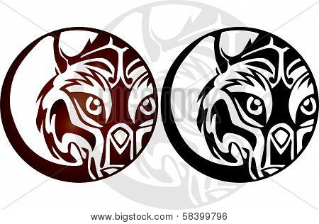 Twin tribal of face wolf and the moon