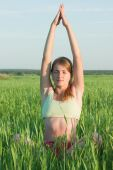 Yoga In Green Meadow