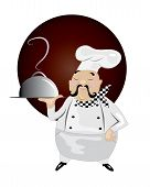 stock photo of snob  - Vector illustration of happy chef serving delicious meal - JPG