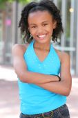 pic of teenage girl  - Smiling friendly african american teenager girl portrait - JPG