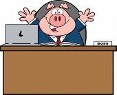 Businessman Pig Cartoon Character Behind Desk