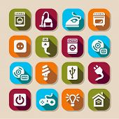 stock photo of televisor  - Electronic Devices Icons Set for web and mobile - JPG