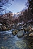 stock photo of cottonwood  - January on the Big Cottonwood river in the Wasatch mountains of Utah USA - JPG