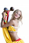 picture of maracas  - Beautiful smiling blonde dancing with maracas - JPG