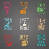 foto of drawing beer  - Vector hand drawn icons of menu positions - JPG